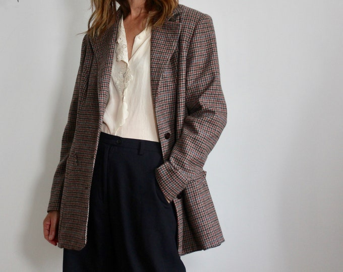 80s Tweed Long Length Blazer Jacket Size M