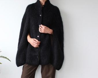 Vintage Black Mohair Wool Blend Heather Valley Cape
