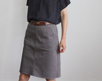 Slate Grey All Cotton Preppy Laura Ashley Pencil Knee Skirt