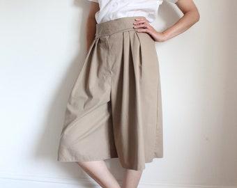 Vintage Beige All Cotton Wide Shorts Culottes