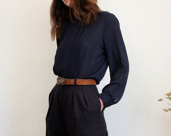 Navy Blue Sheer Pleated Evening Blouse