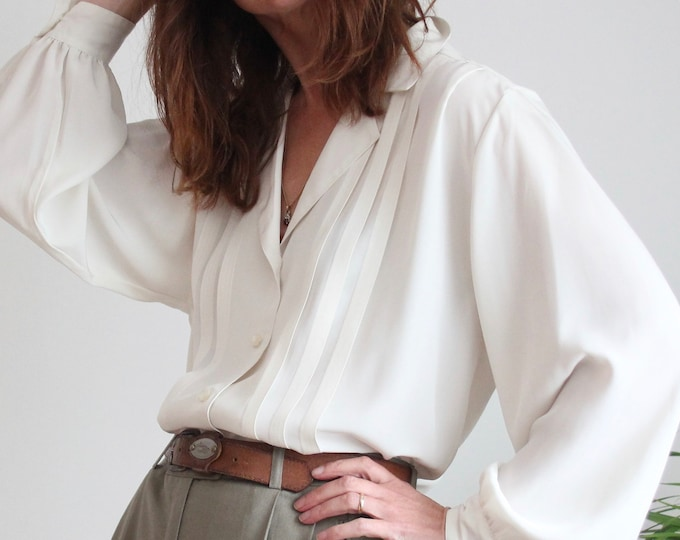 Featured listing image: Ivory Aquascutum Pleated 70's Blouse