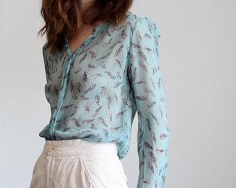 Blue 100% Silk Turquoise Sheer Bird Print Blouse