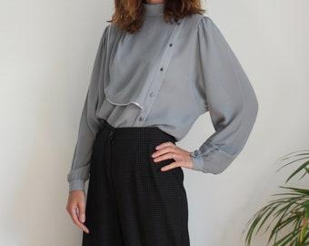 Grey 80s Chic Italian Drape Blouse