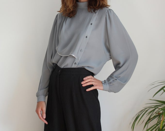 Grey 80s Chic Italian Blouse