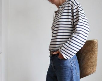 French Breton Stripe Sailor Nautical Top