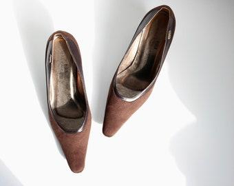 Balenciaga Brown Suede BB Kitten Heel Shoes Pumps UK 4.5