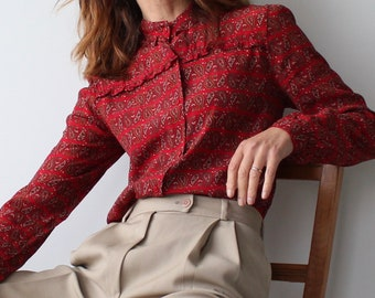 Vintage Red Paisley Ruffle Collar Blouse