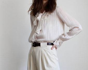 Frill Collar and Bow Ivory Blouse