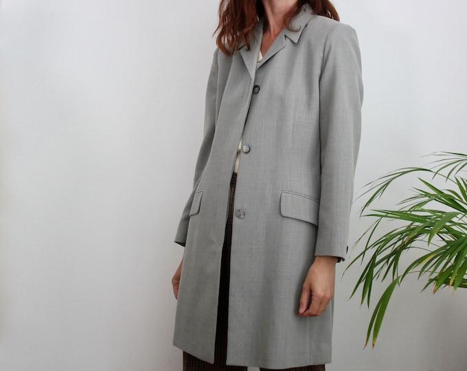 Grey 90s Marella Long Blazer Jacket