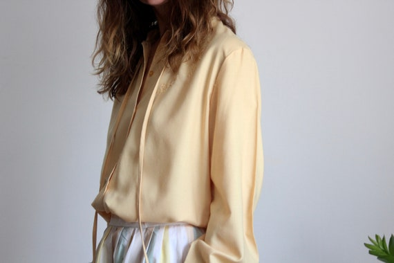 70s Embroidered Summer Mustard Yellow Blouse
