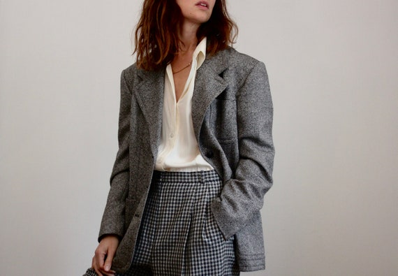 Grey Wool Silk Mix Blazer By Mondi