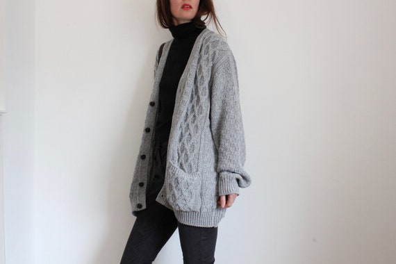 Long Oversized Grey Cable Knit Cardigan by TOOTAL