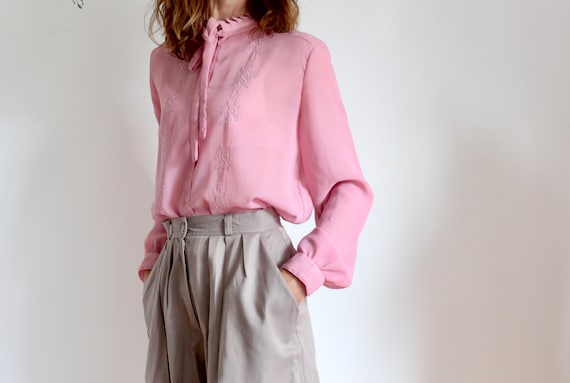 Pink Sheer  Embroidered 1970s Tie Blouse