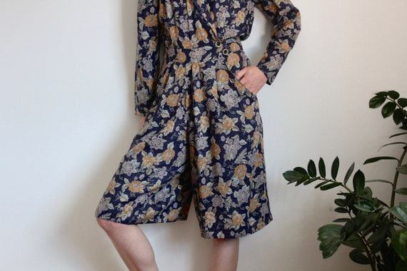Blue Floral Print Culottes Playsuit