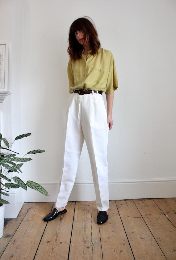 Vintage White Linen 80's Pleat High Waist Trousers