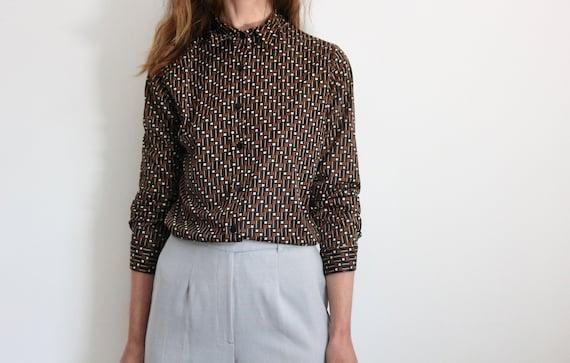 70s Retro Geometric Print Brown Shirt Blouse