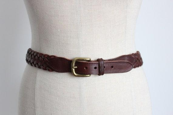Chestnut Brown Plaited Leather Belt