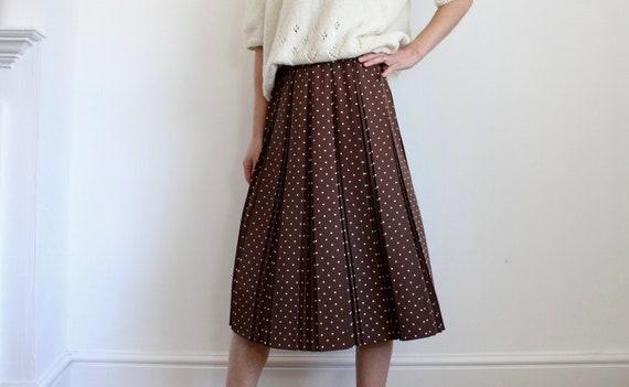 Pretty Brown Polkadot Pleated Skirt