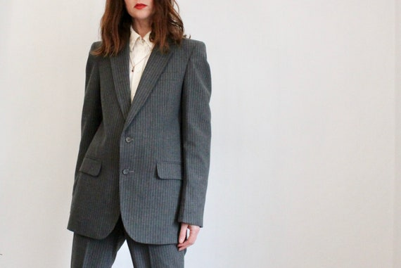 Grey Tailored 70s Pinstripe YORKERS Trouser Suit