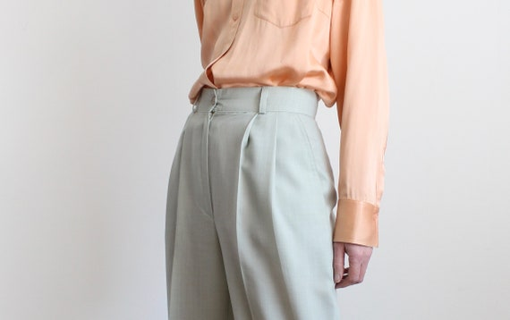 Sage High Waist Pleated 80s Trousers