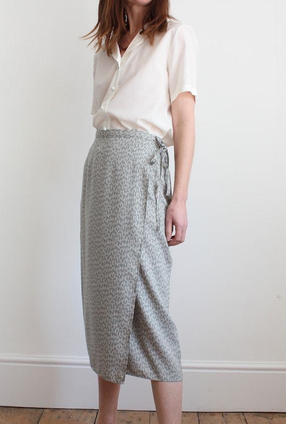 Long Side Split Wrap Over Printed Skirt