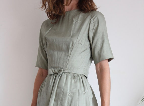 Sage Green Raw Silk 60's Dress and Jacket