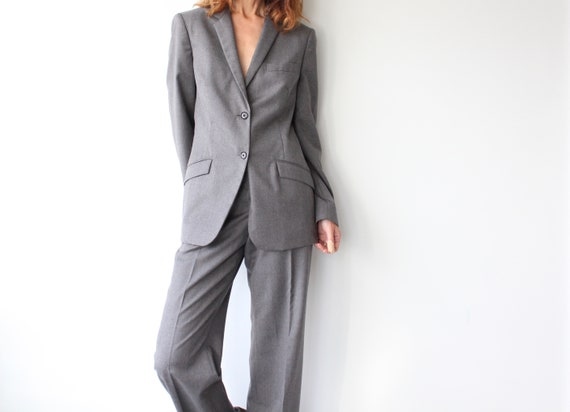 Grey Calvin Klein Ladies Pure New Wool Trouser Sui