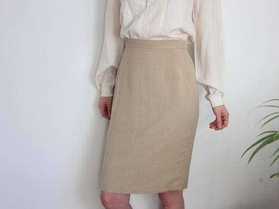 Vintage CERRUTI 1881 Beige Pencil Skirt UK 10