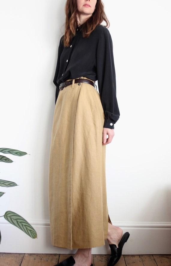 Long Wrap Camel Linen Skirt by Mulberry