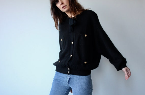 Les Copains Lambswool Pussy Bow Cardigan
