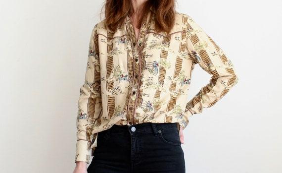 Liz Claiborne Equestrian Novelty Print Western Shirt
