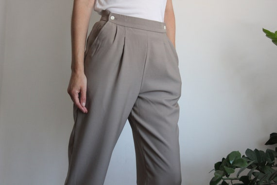 Taupe High Waist Jaeger Trousers