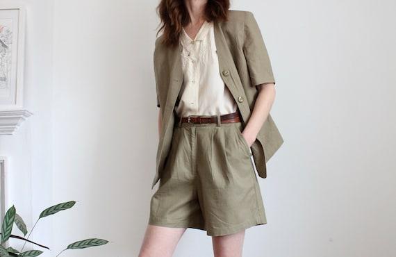 1980s Khaki Blazer and Shorts Tailored Suit