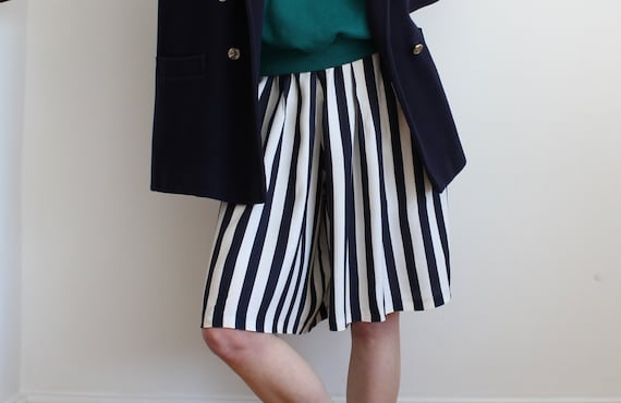 Nautical Navy Breton Stripe Wide Culottes Shorts