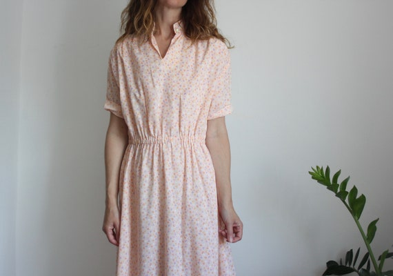 Pink Ditsy Floral Print 70s Summer Dress