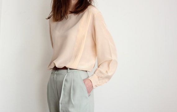Soft Pink Silk Pleated Blouse