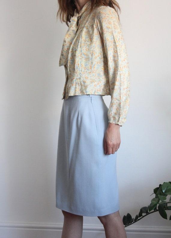80s Pale Blue Jean Muir Pencil Skirt Size UK 10-12