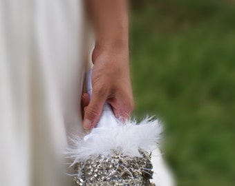 Crystal Bouquet - Feather Bouquet - Sparkle Brooch Bouquet - Jeweled Bouquet - Wedding Broach Bouquet
