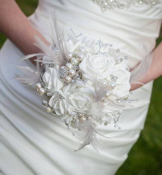 Diy Feather Bouquets Weddings: Brooch Bouquet Jeweled Bouquet Feather Bouquet
