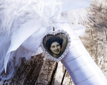 Bouquet Photo Charm Heart, Wedding Bouquet Photo Charm, Diamante Memorial Photo Charm, Rhinestone Photo charm, Bouquet Photo Jewelry