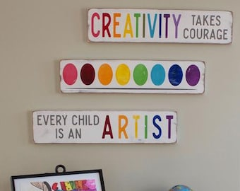 creativity takes courage  hand painted sign bundle