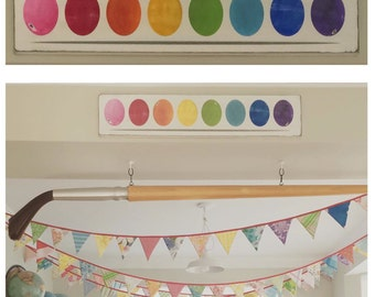 Wooden Paint Palette Watercolor Sign Hand Painted - Playroom, Craft room, Studio Decor