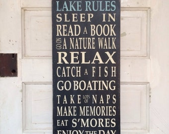 On Sale ~ Lake Rules Typography Word Art Painted Wooden Sign Cottage Style