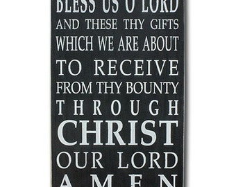 Wooden Sign Mealtime Blessing Grace - Bless us O Lord Distressed Sign in Black with White Vintage Style