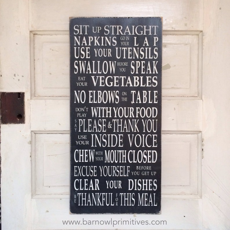 Table Manners Dinner Rules Wooden Painted Sign Typography Etsy