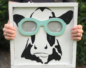 swag cow painting with sunglasses