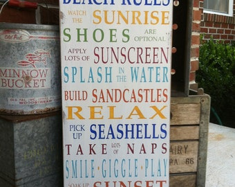 Beach Rules Wooden Sign Vintage Style Typography Word Art Sign in Rainbow Colors