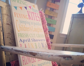 Spring Fun with Bunting Typography Word Art Sign - Limited Edition