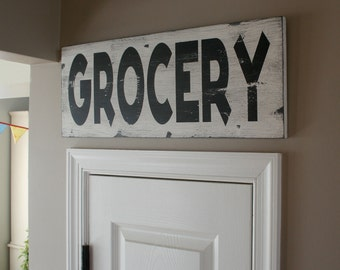 Grocery Heavily Distressed Vintage Style Sign in Weather Worn White with Black